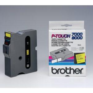 Tape BROTHER TX-651 24mmx15m sort/gul