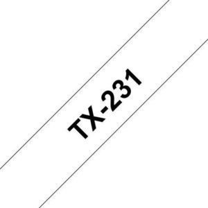Tape BROTHER TX-231 12mmx15m sort/hvit