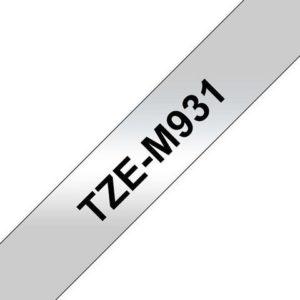 Tape BROTHER TZe-M931 12mmx8m sort/sølv