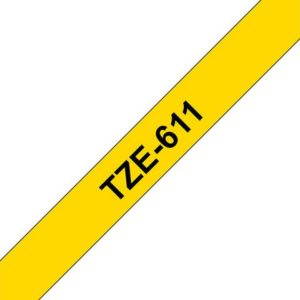 Tape BROTHER TZe-611 6mmx8m sort/gul