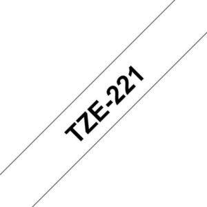 Tape BROTHER TZe-221 9mmx8m sort/hvit