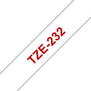 Tape BROTHER TZe-232 12mmx8m rød/hvit