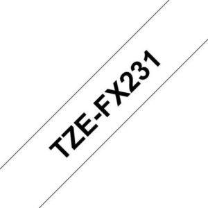 Tape BROTHER TZe-FX231 12mmx8m sort/hvi