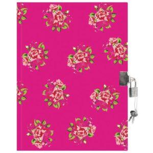 Dagbok BURDE med lås roser