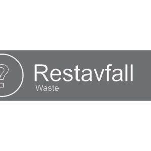 "Etikett RØROS ""Restavfall"""