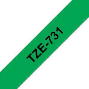 Tape BROTHER TZe-731 12mmx8m sort/grønn