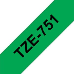 Tape BROTHER TZe-751 24mmx8m sort/grønn