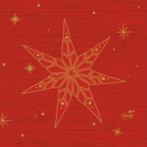 Serviett DUNI 3L 24cm Star rød (50)