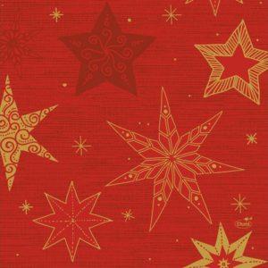 Serviett DUNI 3L 33cm Star rød (50)