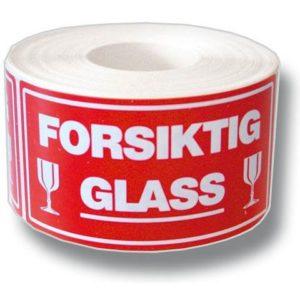Etikett Forsiktig Glass (500)