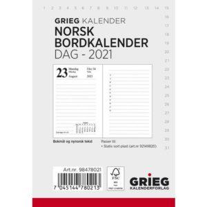 Bordkalender GRIEG Norsk 2021