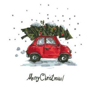 Serviett 33cm Bil med juletre (20)