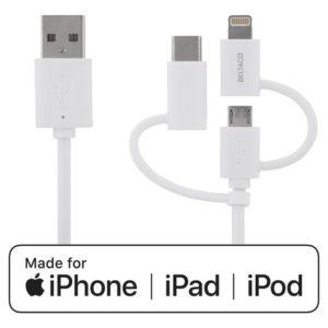 Kabel DELTACO USB C/Micro/Lightning 0