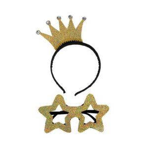 Hårbøyle krone og briller gull