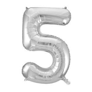 Ballong folie 86cm tall 5 sølv