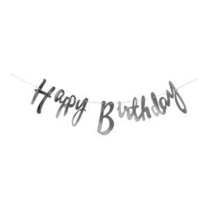 Banner Happy Birthday sølv