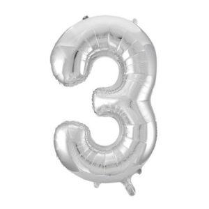 Ballong folie 86cm tall 3 sølv