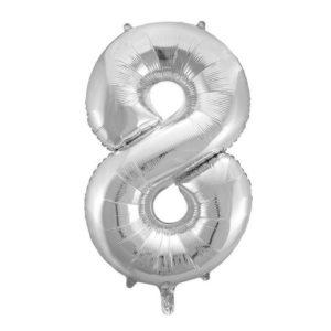 Ballong folie 86cm tall 8 sølv
