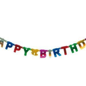 Banner Happy Birthday mix farger