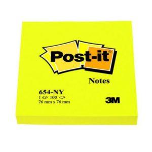 POST-IT notatblokk 76x76mm 654 neongul