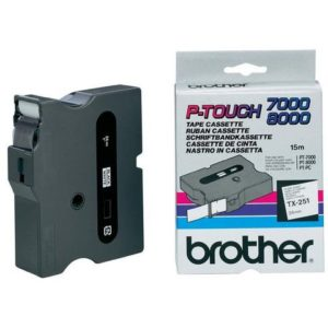 Tape BROTHER TX-251 24mmx15m sort/hvit