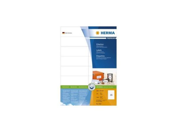 Etikett HERMA premium A4 105x37mm (1600