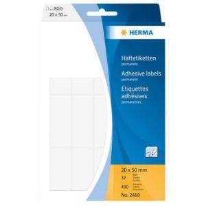 Etikett HERMA manuell 20x50mm hvit (480