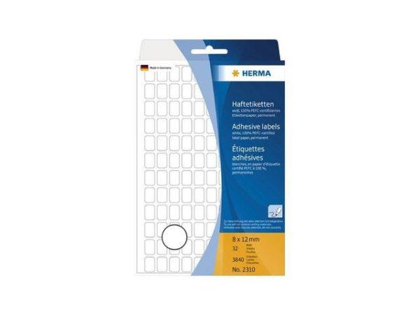 Etikett HERMA manuell 8x12mm hvit (3840